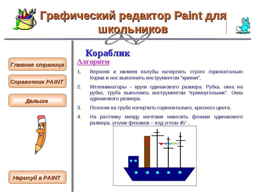 Графический редактор Paint для школьников Кораблик Алгоритм Верхняя и нижняя ...