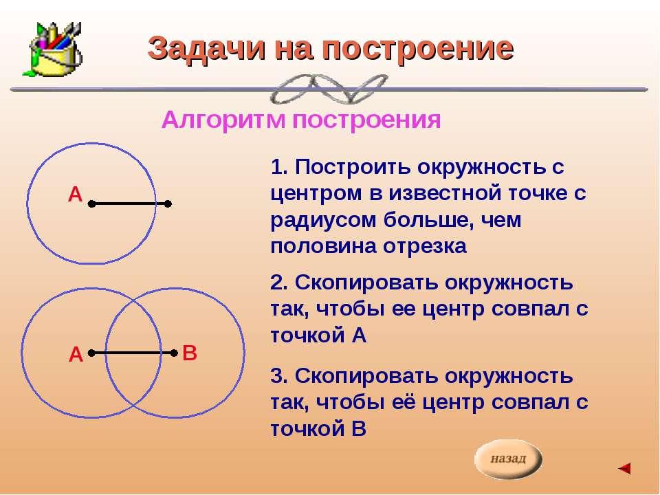 Задачи на построение Алгоритм построения 1. Построить окружность с центром в ...
