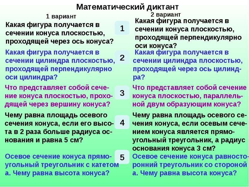 Математический диктант Математический диктант 1 1 вариант 2 вариант Какая фиг...