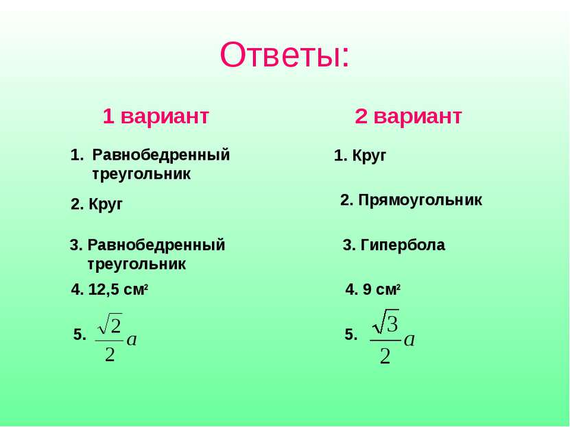 Ответы: 2 вариант 1 вариант Равнобедренный треугольник 1. Круг 2. Круг 2. Пря...