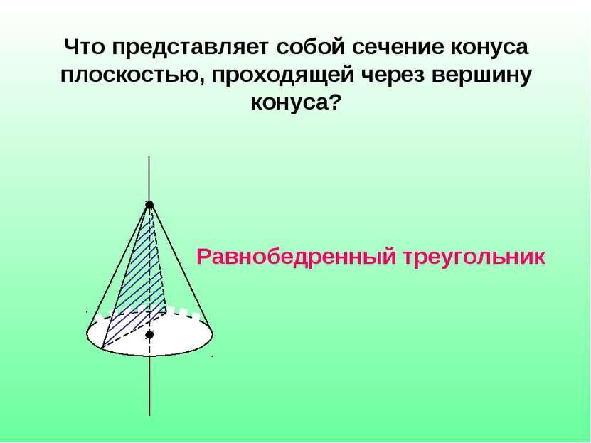 Что представляет собой сечение конуса плоскостью, проходящей через вершину ко...