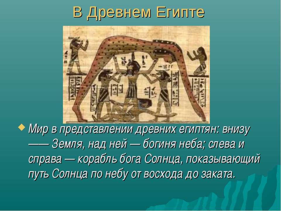 В Древнем Египте Мир в представлении древних египтян: внизу —— Земля, над ней...