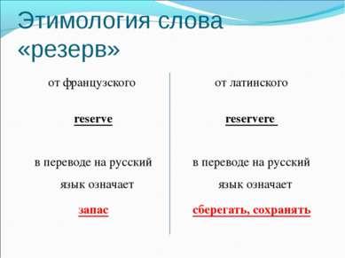 Этимология слова «резерв» от французского reserve в переводе на русский язык ...