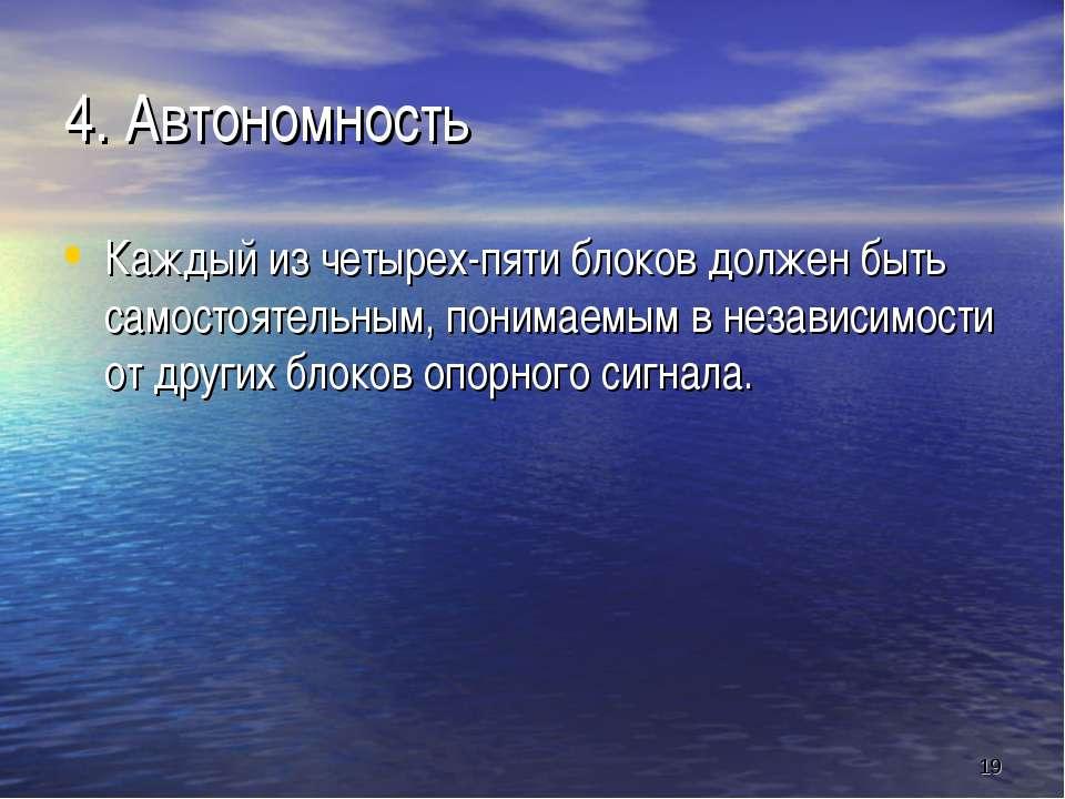 * 4. Автономность Каждый из четырех-пяти блоков должен быть самостоятельным, ...