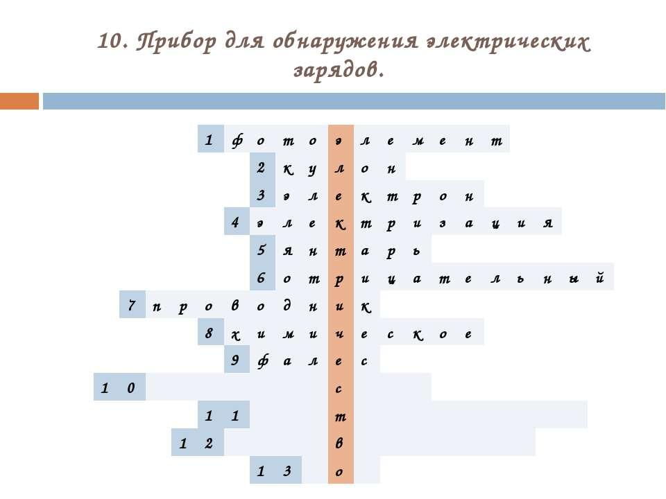 10. Прибор для обнаружения электрических зарядов. 1 ф о т о э л е м е н т 2 к...
