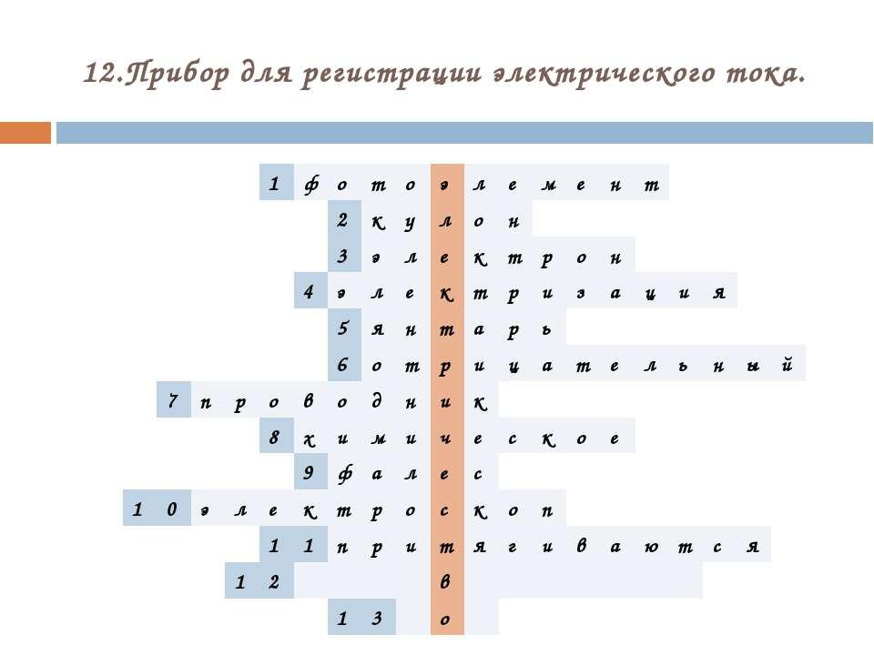 12.Прибор для регистрации электрического тока. 1 ф о т о э л е м е н т 2 к у ...