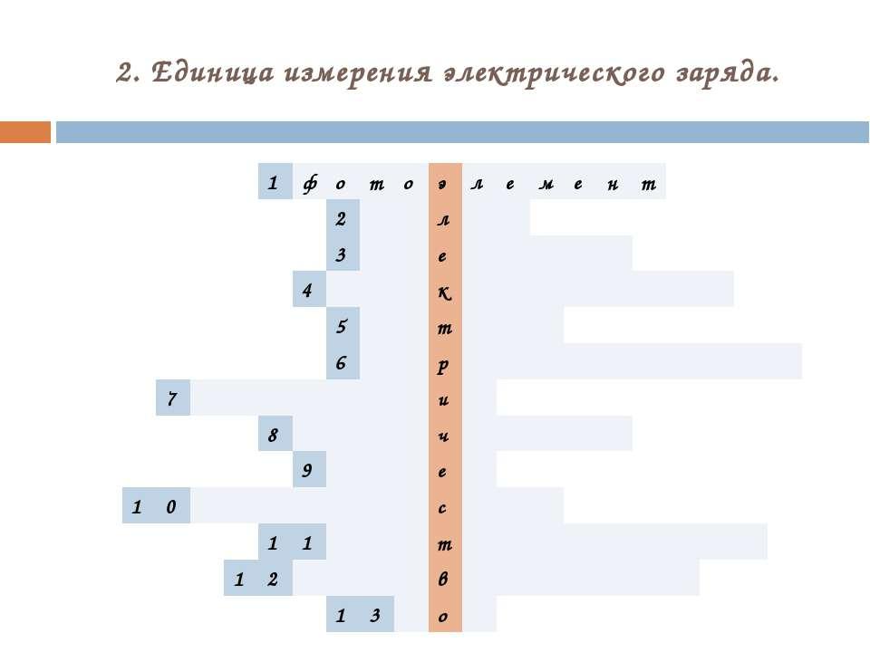 2. Единица измерения электрического заряда. 1 ф о т о э л е м е н т 2 л 3 е 4...