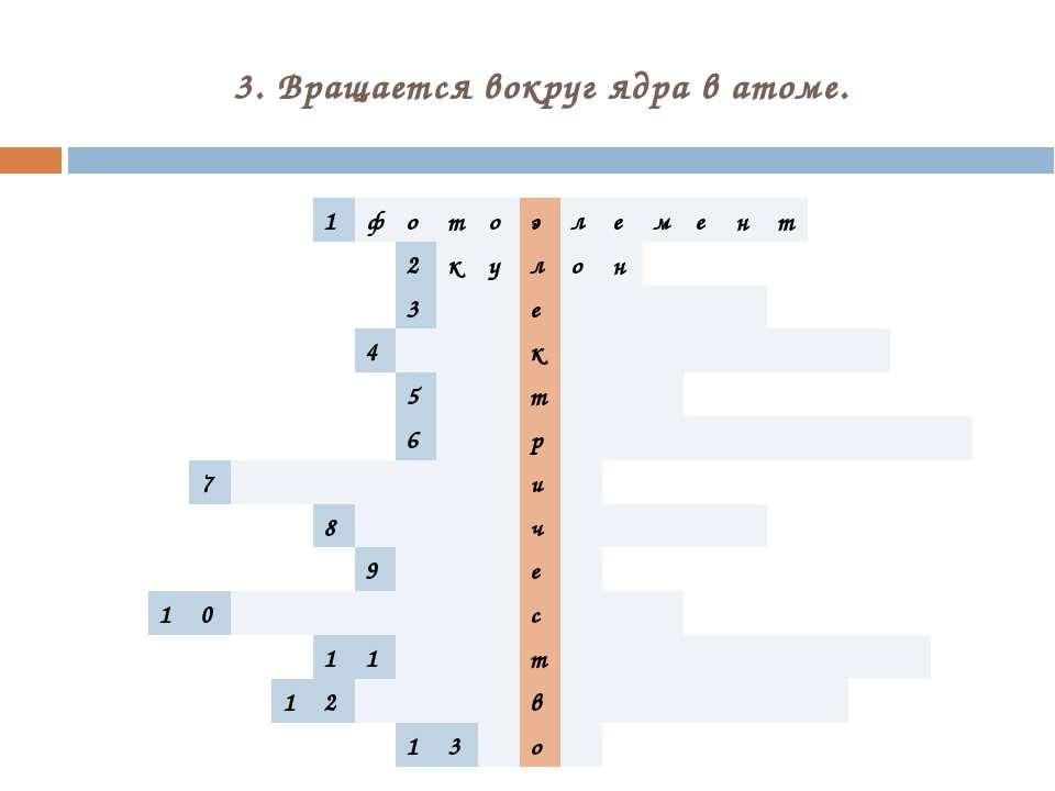 3. Вращается вокруг ядра в атоме. 1 ф о т о э л е м е н т 2 к у л о н 3 е 4 к...