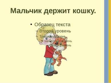 Мальчик держит кошку.