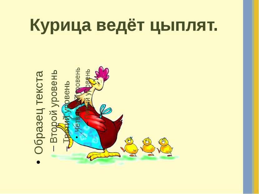 Курица ведёт цыплят.