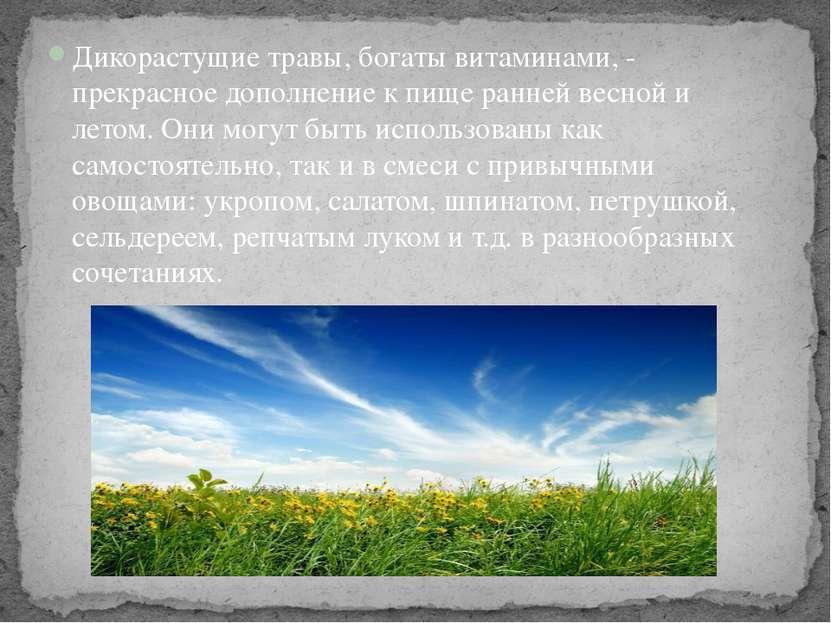 Дикорастущие травы, богаты витаминами, - прекрасное дополнение к пище ранней ...