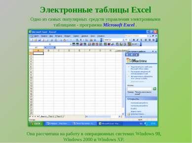 Электронные таблицы Excel Одно из самых популярных средств управления электро...