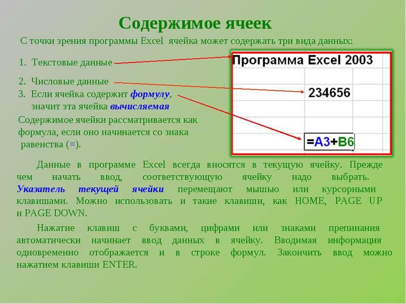 Содержимое ячеек С точки зрения программы Excel ячейка может содержать три ви...