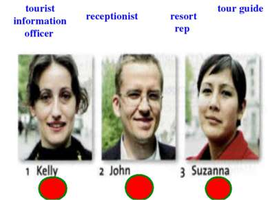 receptionist tourist information officer resort rep tour guide
