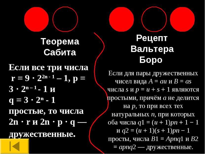 Теорема Сабита Рецепт Вальтера Боро Если все три числа r = 9 · 22n - 1 – 1, p...