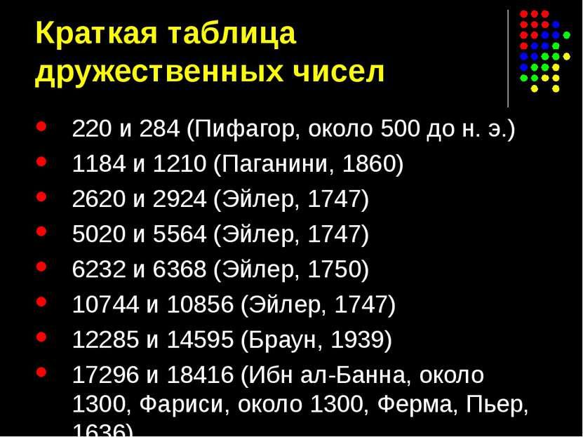Краткая таблица дружественных чисел 220 и 284 (Пифагор, около 500 до н.э.) 1...