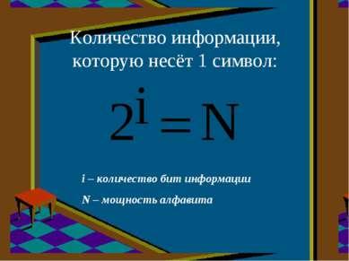 Количество информации, которую несёт 1 символ: i – количество бит информации ...