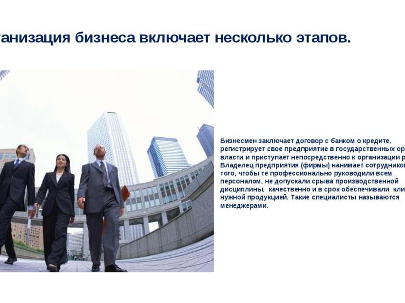 Организация бизнеса включает несколько этапов. Бизнесмен заключает договор с ...