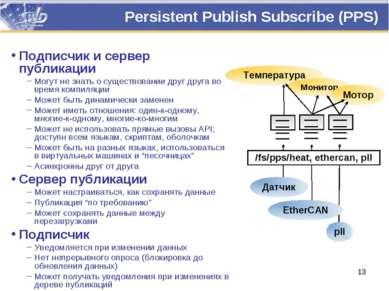 Persistent Publish Subscribe (PPS) Подписчик и сервер публикации Могут не зна...