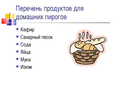 Перечень продуктов для домашних пирогов Кефир Сахарный песок Сода Яйца Мука Изюм