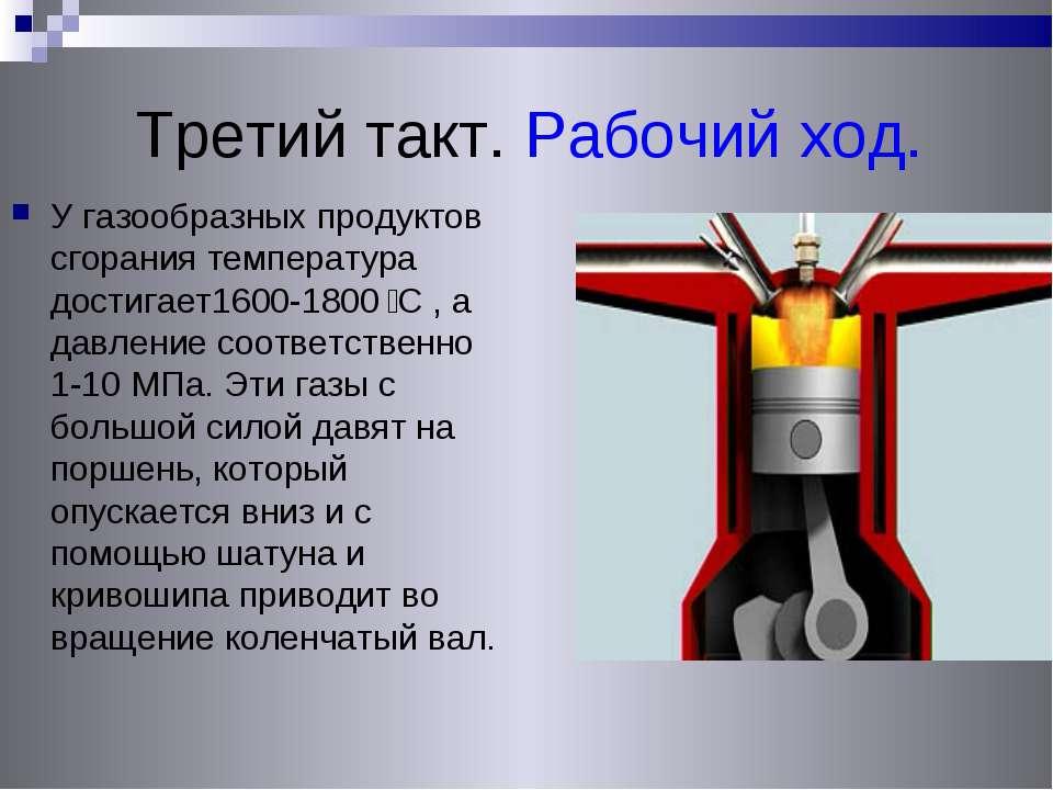 Третий такт. Рабочий ход. У газообразных продуктов сгорания температура дости...
