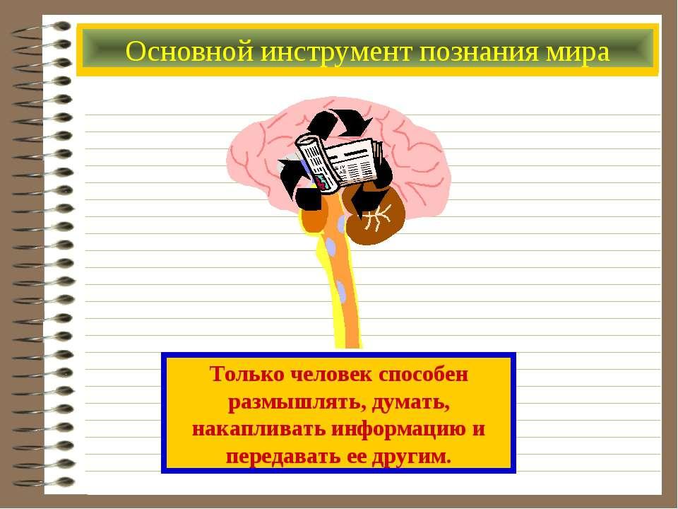 Основной инструмент познания мира Только человек способен размышлять, думать,...