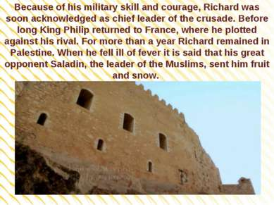Because of his military skill and courage, Richard was soon acknowledged as c...