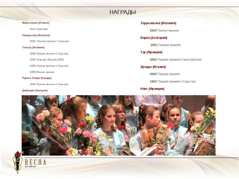 НАГРАДЫ Мальчезине (Италия) 2012 Гран-при Ниредьгаза (Венгрия) 2010 Первая пр...