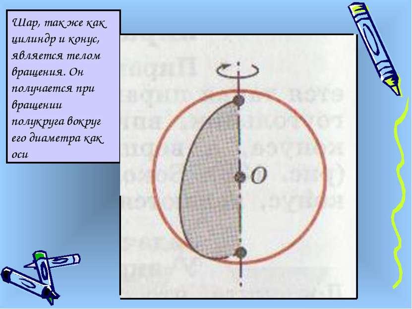 Шар, так же как цилиндр и конус, является телом вращения. Он получается при в...