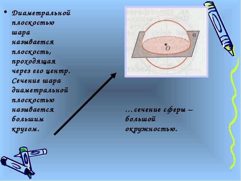 Диаметральной плоскостью шара называется плоскость, проходящая через его цент...