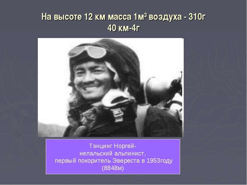 На высоте 12 км масса 1м³ воздуха - 310г 40 км-4г Тэнцинг Норгей- непальский ...