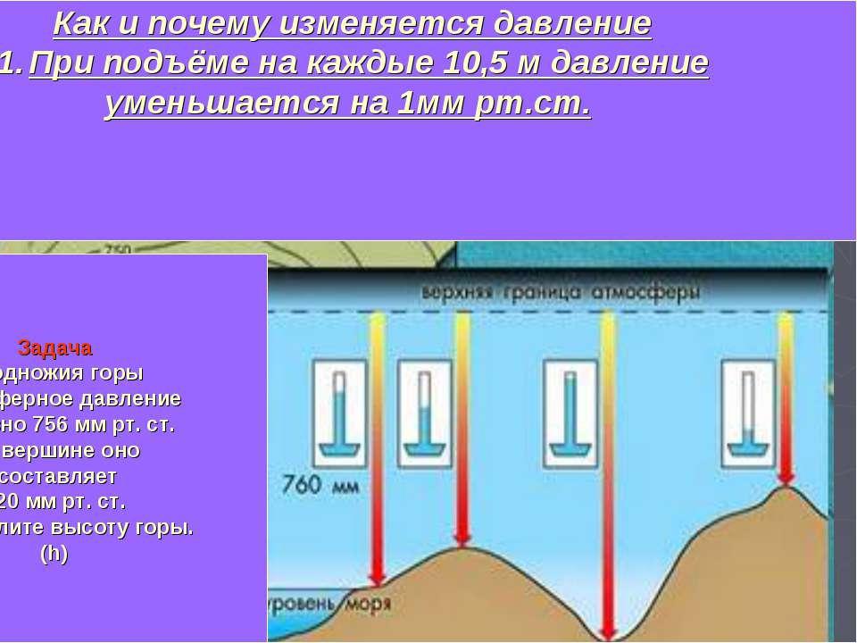 Изменение давления воздуха с высотой При подъёме на каждые 10,5м давление уме...