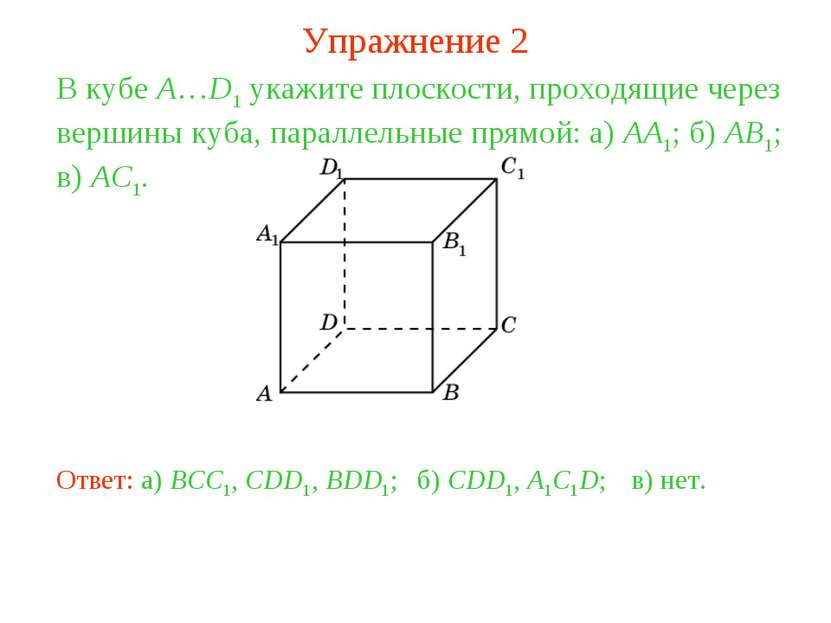 б) CDD1, A1C1D; В кубе A…D1 укажите плоскости, проходящие через вершины куба,...