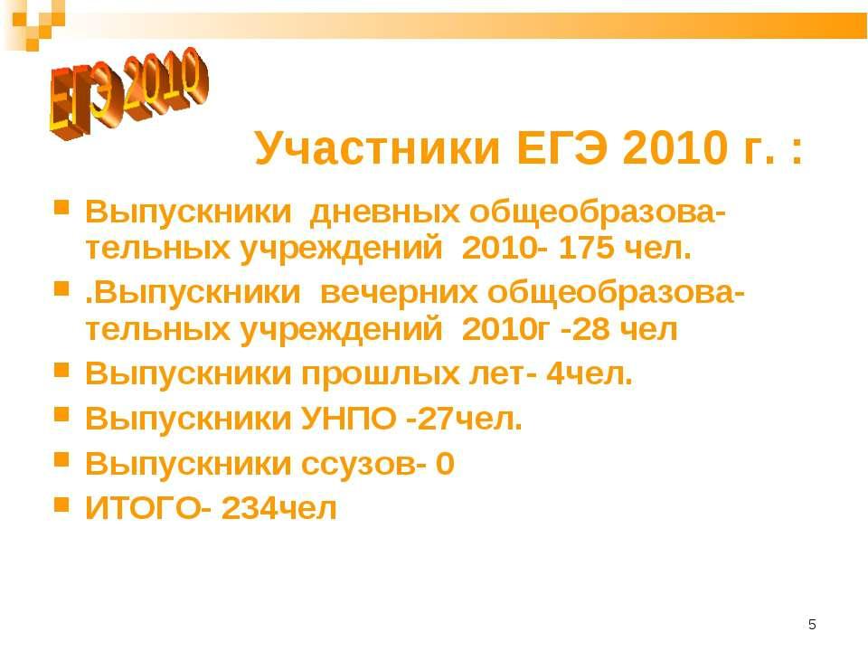 * Участники ЕГЭ 2010 г. : Выпускники дневных общеобразова-тельных учреждений ...