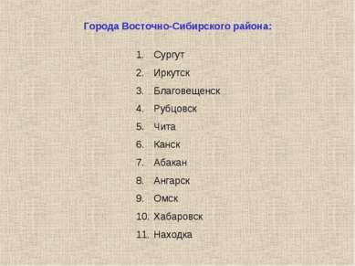 Города Восточно-Сибирского района: Сургут Иркутск Благовещенск Рубцовск Чита ...