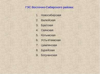 ГЭС Восточно-Сибирского района: Новосибирская Вилюйская Братская Саянская Кол...