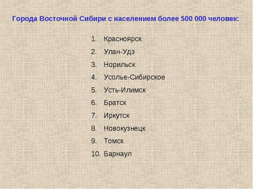 Города Восточной Сибири с населением более 500 000 человек: Красноярск Улан-У...