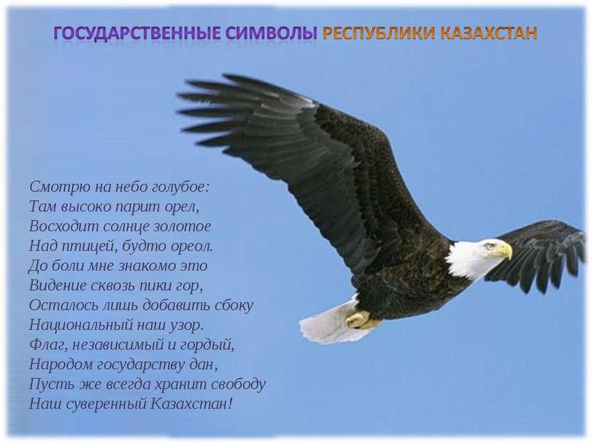 Смотрю на небо голубое: Там высоко парит орел, Восходит солнце золотое Над...