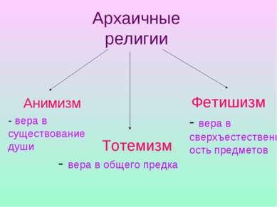 Архаичные религии Анимизм Тотемизм Фетишизм - вера в существование души - вер...