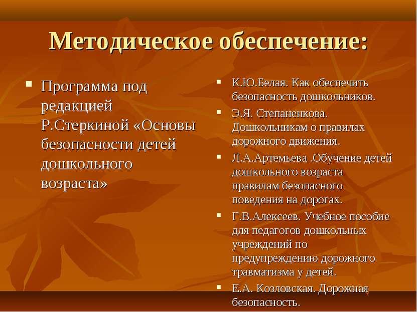 Методическое обеспечение: Программа под редакцией Р.Стеркиной «Основы безопас...