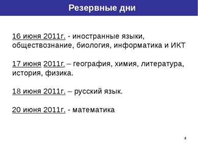 * Резервные дни 16 июня 2011г. - иностранные языки, обществознание, биология,...