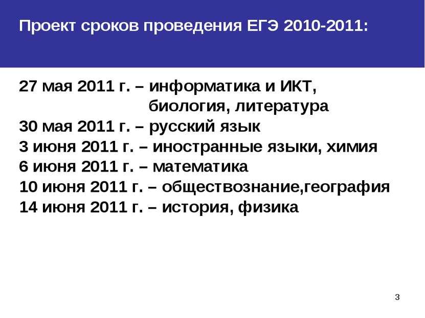 * Проект сроков проведения ЕГЭ 2010-2011: 27 мая 2011 г. – информатика и ИКТ,...