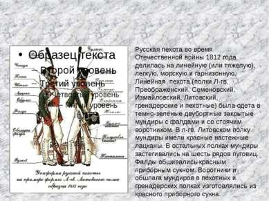 Русская пехота во время Отечественной войны 1812 года делилась на линейную (и...