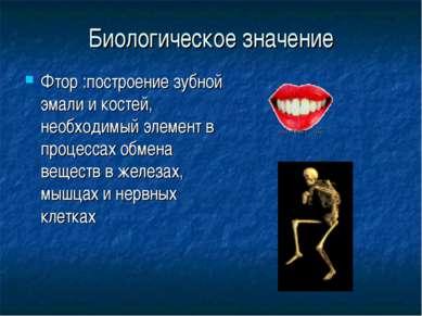 Биологическое значение Фтор :построение зубной эмали и костей, необходимый эл...
