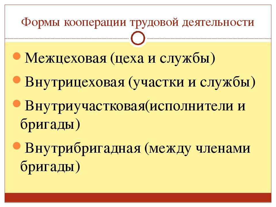 Формы кооперации трудовой деятельности Межцеховая (цеха и службы) Внутрицехов...