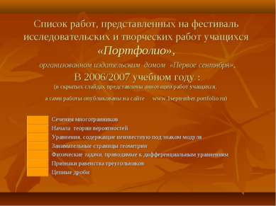 Список работ, представленных на фестиваль исследовательских и творческих рабо...