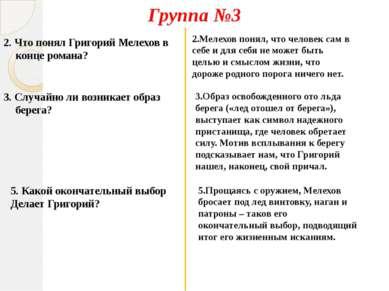 2. Что понял Григорий Мелехов в конце романа? 3. Случайно ли возникает образ ...