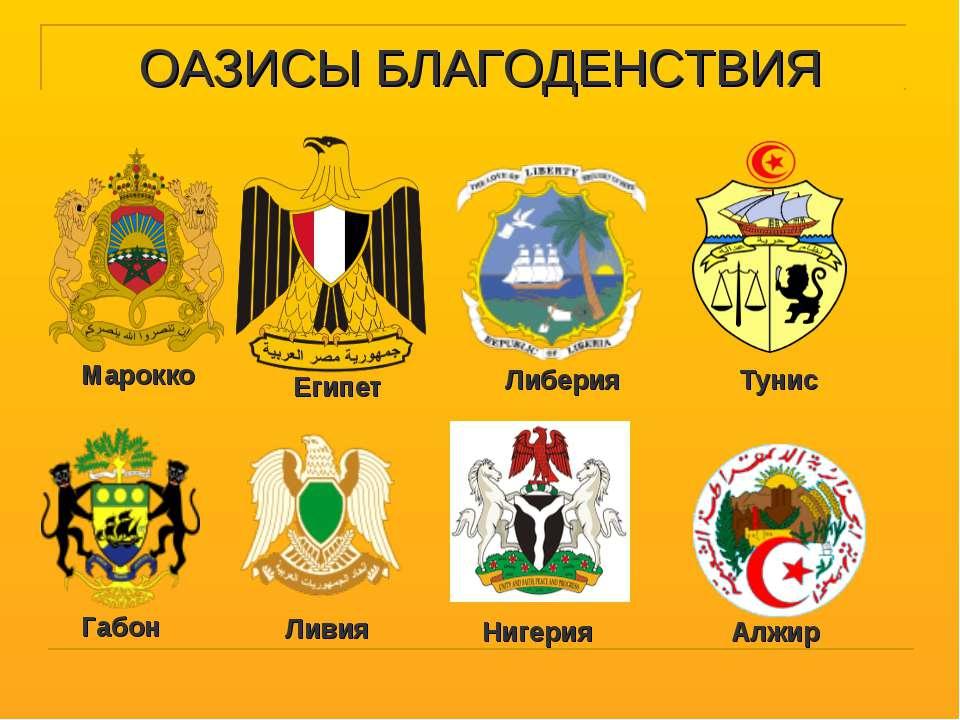 ОАЗИСЫ БЛАГОДЕНСТВИЯ Марокко Габон Египет Либерия Тунис Алжир Ливия Нигерия