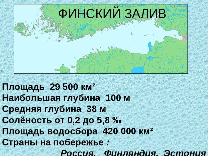 ФИНСКИЙ ЗАЛИВ Площадь 29500км² Наибольшая глубина 100м Средняя глубина 38...