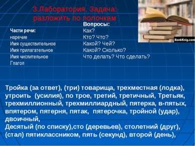 3.Лаборатория. Задача: разложить по полочкам Части речи: наречие Имя существи...